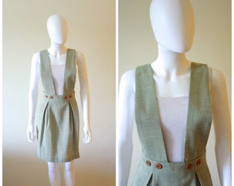 SALE- 80's-90's Green Houndstooth Pinafore Skirt // Petite Sophisticate // Size Small or Size 2-4