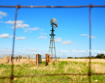 Nebraska Windmill in a Pasture with Loading chute, Corral, and Fence.   Landscape Scenic Photography.