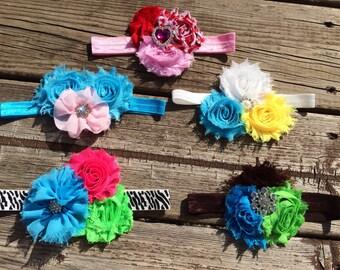 Girls headband.  Baby headband. Shabby Chic headband. Flower headband.  Headbands