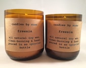 Freesia Handmade Natural Soy Candle Set in Recycled Bottle