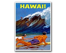 Hawaii Travel Decor Surfing Poster Art Retro Decor Print (H203)