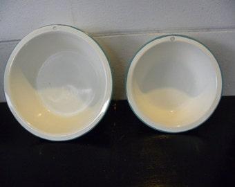 Set of 2 White with Aqua Rim Enamel Bowls