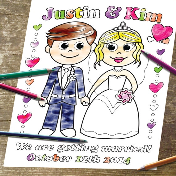 Printable Personalized Coloring Page Digital Wedding Party