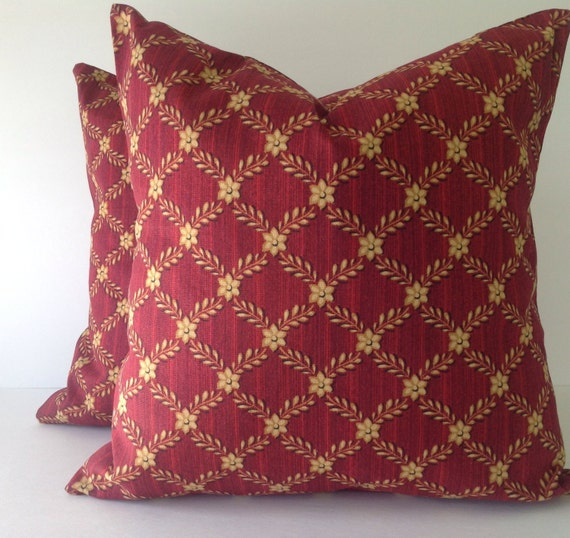 Maroon and yellowSet of TWO Decorative throw pillow Covers
