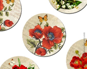 Digital Collage Sheet  Red Flowers 1 inch round Poppy  Scrapbooking Pendants Printable Original  Printable 4x6 inch sheet  29