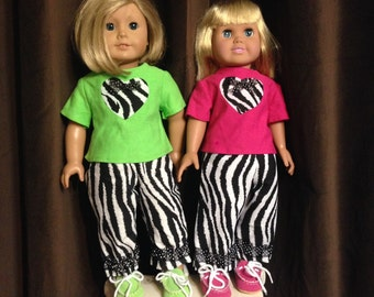 SALE Fits American Girl doll clothes Heart Tee, Zebra Pants, Darling outfit FREE Ship