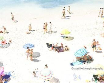 Beach photography, aerial beach print, beach people fine art print, blue, white, beach art, dorm, wall decor, home decor, coastal decor