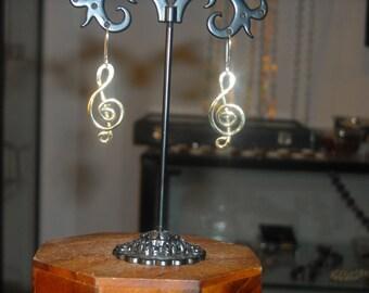 Chiave Violino Orecchini Argento, Earrings Hand Made Orecchini Musicali Regalo Musicale Orecchini Chiave di Sol Gioielli Argento Artigianali