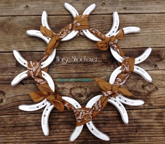 21 Rustic Horseshoe Bandana Wreath Western Home Decor