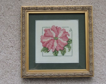 Framed cross stitch flower embroidery- Petunia