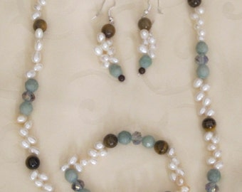Pearl and Jade Lavalliere - Necklace, Earrings, and Bracelet