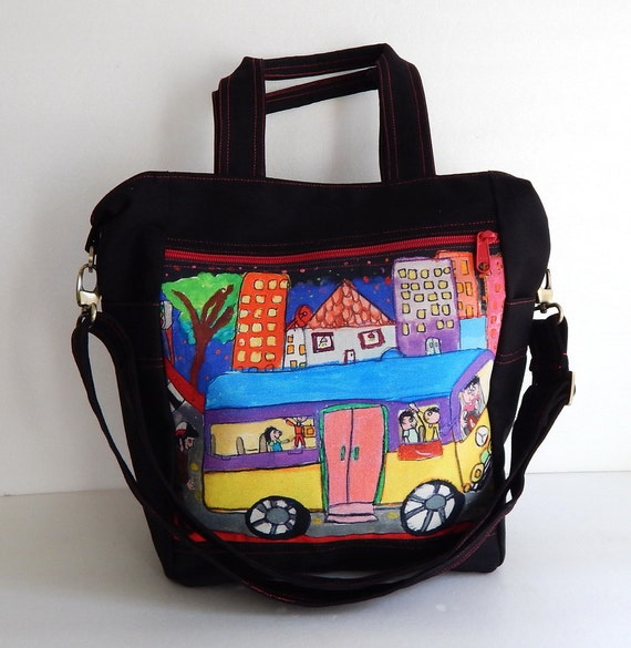 ... messenger bag, travel bag - Busy School Bus print on 'Melbourne' bag