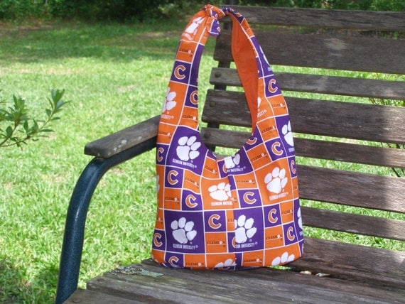 Clemson University Hobo Bag Orange And Purple Purse Pocket