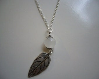 Leaf Pendant Necklace, Glass Pendant ,Charm Necklace, Antique Silver, Nickel Free