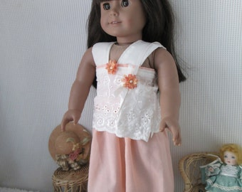 Peach and Lace Holiday Doll dress with matching purse & shoes, fits American Girl doll
