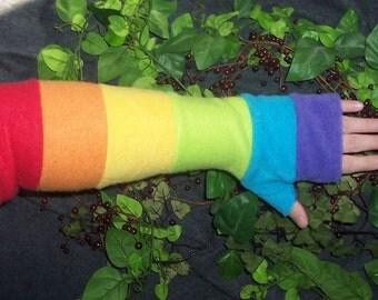 Fairy Rainbow Arm Warmers - Fleece - Fingerless Gloves - Fairy Clothing - Pixie - Elf - Arm Cuffs