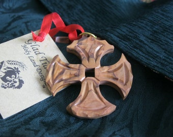 Easter Cross-Easter Gifts-Wooden Cross-Olive Wood Cross-Wood Cross-Canterbury Cross-Handcarved-Christmas Ornament