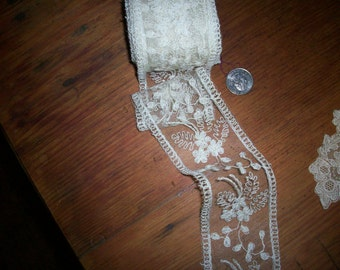 1 yd. of Antique lace by the yard silk net  lace french origin 1900