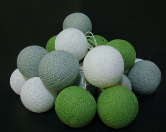 20 Mixed Gray Olive Green cotton ball string lights for Patio,Wedding,Party