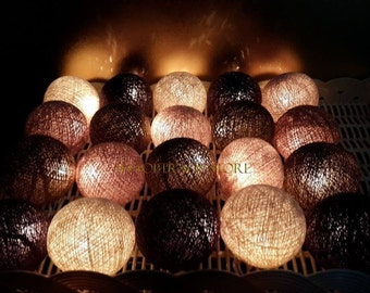 20 Brown cotton ball string lights for Patio,Wedding,Party Home decoration