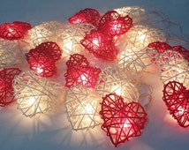 valentine romantic sweet love heart red white string lights 20 rattan party patio fairy decor wedding
