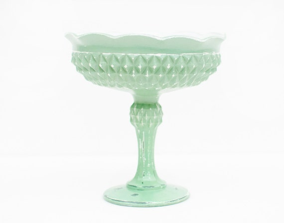 Shabby Chic Hand Painted Vintage Mint Glass Pedestal Dish/Footed Bowl/Candlestick Holder