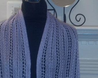 Lavender Pointed Lace Knitted Wrap