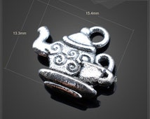 20 Pcs,kettle Antique Silver Charms,Tibetan Silver Pendant Charm,kettle Charms,filigree findings,Jewelry Findings,DIY Accessories--BF104