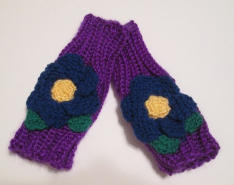 Flowered Wrist Warmers