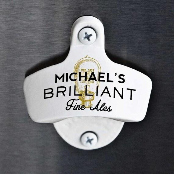 Wall mounted bottle opener with custom personalized text - Personalized wall mount bottle opener ...