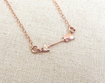 Pink Gold Necklace, Rosegold Necklace, Rose Gold Arrow
