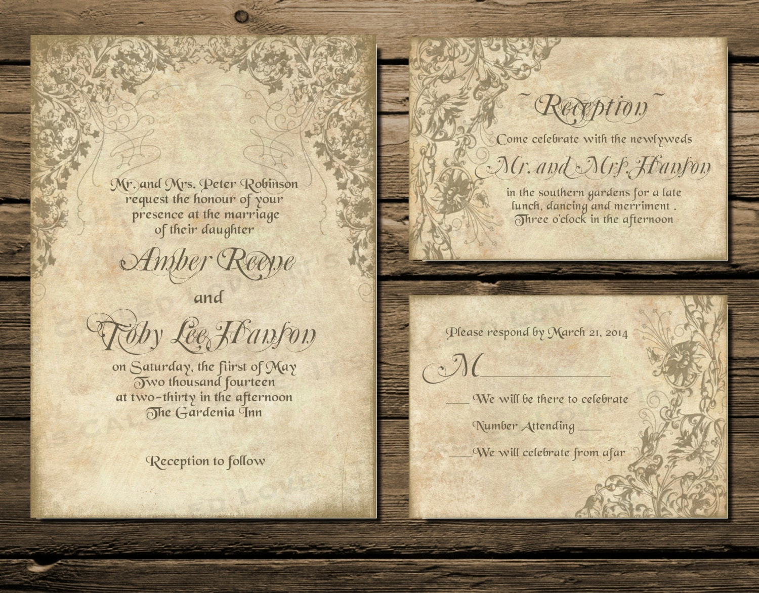 Printable Wedding Invitation Download, Invite, RSVP Info
