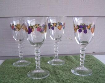 Handpainted Wine Glasses -- Set of 4