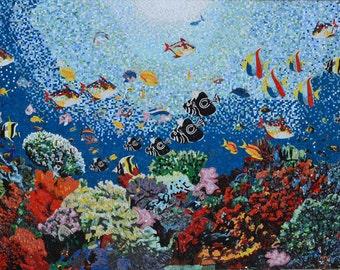Aquatic Ocean Scene Glass Mosaic Pool Tiles
