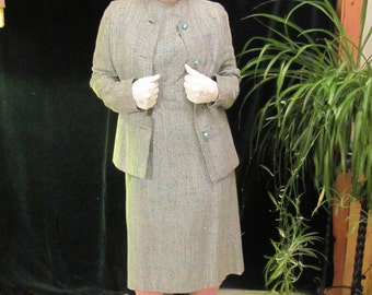 """Women's Dress suit blues, Designer Vintage Women""""s Suit, Women's jacket and matching dress in wool blend, in shades of blue"""