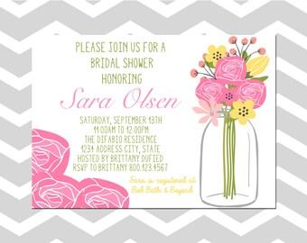 Bridal Shower Invitation/Card Bridal Shower Mason Jar Invitation/Card