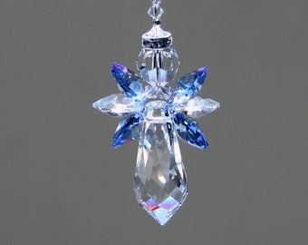 "Baby Blue Angel Crystal Suncatcher, 6 Beautiful Swarovski Clear and Blue Crystal Octagons with a Crystal Halo and 38mm Prism, 6"" Long"