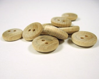 Wood Buttons, 10 Pieces, 5/8-inch Buttons, Wood Craft Supplies, Unfinished Wood