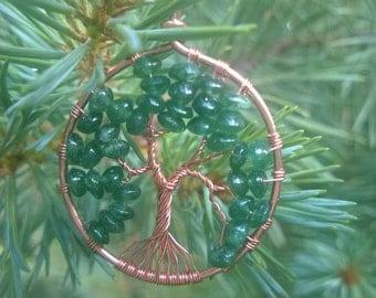 Copper and Aventurine Tree of Life Pendant
