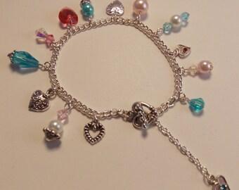Crystal Charm - bracelet, Swarovski Heart bracelet, Aqua and Pink bracelet