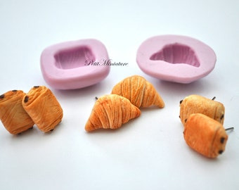 BREAD MOLD fimo ST052 croissant bakery flexible silicone mold polymer clay jewelry charms sweet dollhouse miniature food kawaii cabochon