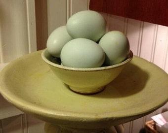 Mallard/Pekin (cross) Duck Egg Shells: 1-Dozen Blue, Free Range, Handblown  for Crafts or Display