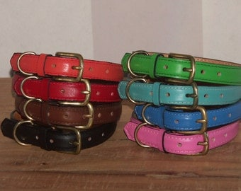Handmade Leather Dog Collar - Pink, Green, Black, Brown, Blue, Red, Orange, Turquoise, Aqua - 14, 16 inch lengths - Size Medium