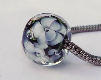 European Charm Bead, Large Hole Bead  -  Lilly by Sabrina Koebel Handmade Lampwork Beads