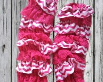 Hot Pink Chevron Ruffled Leg Warmers