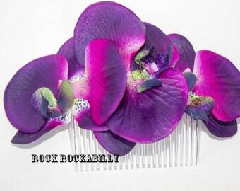 Rock Rockabilly Purple Orchid Pin Up Bridal  hair flower comb fascinator
