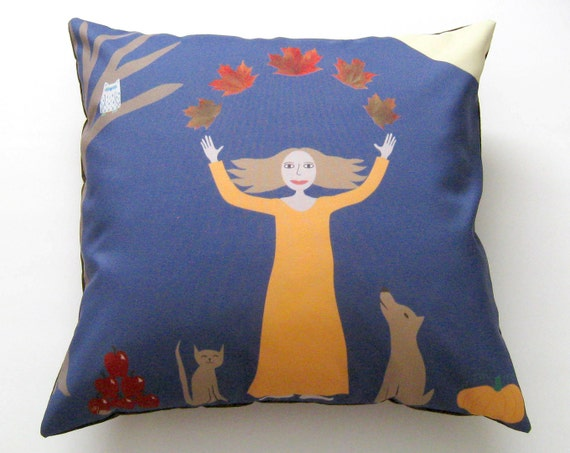 Autumn Throw Pillow Covers : Fall Decor Autumn Lady Pillow Cover 16 inch by SunlitForest