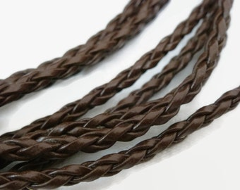 3m x Brown Faux Leather Braided Cord 3mm / Braided Leather / Pleated Leather Cord