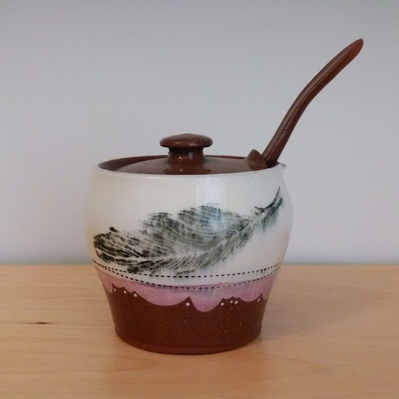 Lilac / Purple Feather Sugar Jar with Spoon – Earthenware – SperlazzaPottery