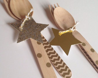 24 gold Star Wooden Cutlery Sets
